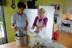 Abdul and Eerika preparing dairy.